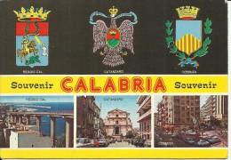 CALABRIA SOUVENIR 1986 CARTOLINA POST CARD STEMMI E CITTA'  ARMS AND TOWNS  VIAGGIATA - Italy