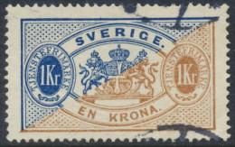 Sweden Suède Sverige: 1Kr Dark Blue/brown Long Official Perf 13, VF Used (DCSV00045) - Service