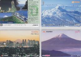LOT De 4 Cartes Prépayées Japon - Volcan MONT FUJI - Mountain Vulcan Japan Prepaid Cards - Berg Karten - 154 - Paysages