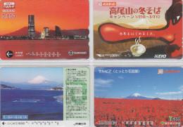 LOT De 4 Cartes Prépayées Japon - Volcan MONT FUJI - Mountain Vulcan Japan Prepaid Cards - Berg Karten - 156 - Volcans