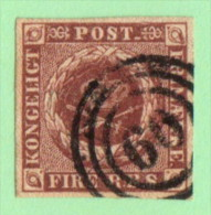 """DEN  SC #2  1851 Royal Emblems  W/""""60"""" = """"Rodby"""" In Concentric Circles - 1851-63 (Frederik VII)"""