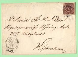 DEN  SC #2 On Cover (folded Letter) W/clock Side Postmark CV $120.00+ - 1851-63 (Frederik VII)