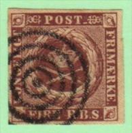 DEN SC #2a  Royal Emblems  4-margins  1st Printing  W/target Cancel, CV $40.00 - 1851-63 (Frederik VII)