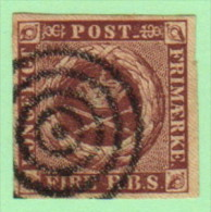 DEN SC #2a  Royal Emblems  4-margins  1st Printing  W/target Cancel, CV $40.00 - Used Stamps