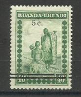 Ruanda-Urundi - 1941 surcharge 5c on 40c (cowherds)   MH *   SG 109  Sc 56