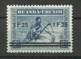 Ruanda-Urundi - 1941 surcharge 3f25 on 2f (pot hewer)   MH *   SG 112  Sc 59
