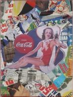 X AMA ALESSANDRO MARTINI (n. 1983) Pin Up Coca Cola. Decollage Su Tela. Cm 30x40 AUTENTICA  NO MIMMO ROTELLA - Altri