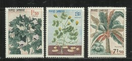 KAMPUCHEA - CAMBOGIA CAMBODIA CAMBOGE 1965 FLORA PLANTS COTTON COCONUT PALM PEANUT SET MNH - Kampuchea