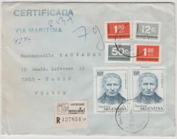 ARGENTINA - ARGENTINE - LETTER LETTRE - RACCOMANDATA CERTIFICADA RECOMMANDE - VIA MARITIMA- 1976 - Viaggiata Per Paris - Argentina