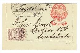El Salvador Ganzsachen Karte 2 Centavos Orange Mit Zusatz 2 C Braun - Salvador