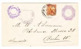 El Salvador Ganzsachen Brief 10 Centavos Mit Zusatz 5 C.1894-2-Abr. Nach Berlin - Salvador