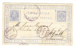 El Salvador UPU Karte 3 C. Nach St. Gallen CH Mit AK-Stempel 13.1.1886 Und Transit ZH - Salvador