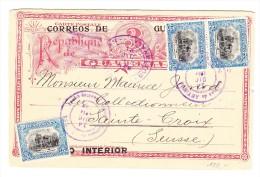 Guatemala Ganzsache 3 C. Mit Zusatzfr. 15 C. 14.Dic.1914 Nach Ste Croix Suisse - Guatemala