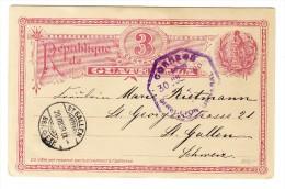 Guatemala Ganzsache 3 C. 30.Jul.1898 Nach St. Gallen Mit  AK-Stempel 20.VIII.1898 - Guatemala