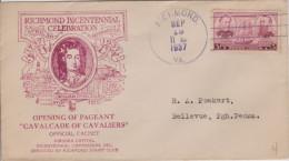 D 363) USA Sonderumschlag 1937:  Richmond Bicentennial Celebration, William Byrd - United States