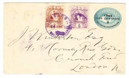 Guatemala Ganzsache 2C.1895 Zusatz 1 X 6 + 1 X 2 C. Nach London - Guatemala