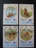 "Série 4 Valeurs  "" ST THOMAS ET PRINCE "" J.O. LOS ANGELES 84  - Course De Haies Equitation Cyclisme Aviron - Summer 1984: Los Angeles"