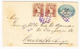 Guatemala Ganzsache 2C.1895 Zusatz 2 X 2 C. Nach Quetzaltenango - Guatemala