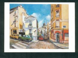 Paris 13è - La Butte Aux Cailles - Rue Michal - Eglise Ste Sainte Anne  (CPSM D´apres Peinture  De Claude Gentet ) - District 13