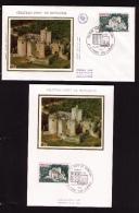 2 Documents Philatéliques Premier Jour, Château Fort De Bonaguil, Saint-Front-sur-Lemance, 1,00 F, 1976 - Castles