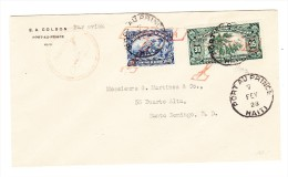 Haiti Port Au Prince 7.Fév.1928 Flugpost Brief Nach Santo Domingo - Haiti