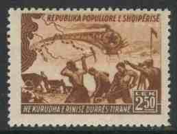Albanie Albania 1948 Mi 451 Sc 427 ** Construction Durres -Tirana Railway / Bau Eisenbahnlinie -Zug, Bahnarbeiter, Karte - Treinen