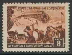 Albanie Albania 1948 Mi 453 Sc 429 ** Construction Durres -Tirana Railway / Bau Eisenbahnlinie -Zug, Bahnarbeiter, Karte - Treinen