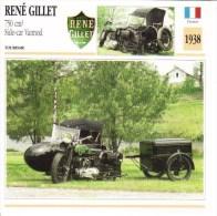 Fiche Moto  -  René Gillet 750cc Avec Side-car Vannod  -  1938  -  Carte De Collection - Motos
