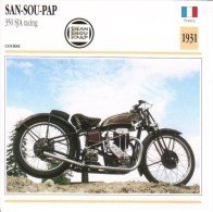 Fiche Moto  -  San-Sou-Pap 350cc SJA Racing  -  1931  -  Carte De Collection - Motos