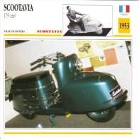 Fiche Moto  -  Scootavia 175cc Scooter  -  1953  -  Carte De Collection - Motos