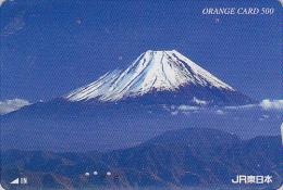 Carte Orange Japon - VOLCAN MONT FUJI Montagne - VULCAN Mountain Japan Prepaid JR Card - VULKAN Berg Karte - 192 - Volcans