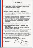 Colombey Les Deux églises : Le Testament De Charles De Gaulle 16 Janvier 1952 - Colombey Les Deux Eglises