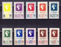 Mexico 1940 - Mi.# 781-790 **  100Jahre Briefmarken - Kpl. Serie - Mexique