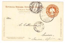 Mexico - UPU Ganzsachenkarte 3 C. Jul.12.1901 Tampico Nach Sousse Tunesien - Mexique
