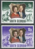 South Georgia. 1972 Royal Silver Wedding. MH Complete Set. SG 36-7 - South Georgia