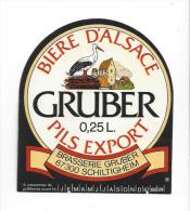 Etiquette De  Bière Pils Export  -  Brasserie Gruber  à  Schiltigheim  (67) - Cerveza