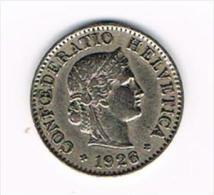¨ ZWITSERLAND  5 RAPPEN  1926 - Suiza