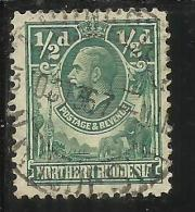 NORTHEN RHODESIA RODESIA  NORTH NORD 1925 - 1929 KING GEORGE V RE GIORGIO HALF PENNY 1/2p GREEN USATO USED OBLITERE' - Northern Rhodesia (...-1963)