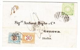 Peru Strafporto 2.30 Lires Auf Faltbrief Mit Inhalt Von Peru Nach Genova Frankiert 1 D. Engl Stempel C38 - Pérou