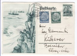 Deutsche Reich 1938. - Fishermen, Postal Stationary - Zwickau (Germany) To Lukavec (Bosnia) - Covers & Documents