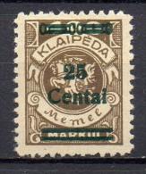 Memel - Memelgebiet - Klaïpeda - 1923 - Michel N° 220 * - Klaipeda