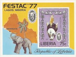 Liberia,  Scott 2014 # C215,  Issued 1977,  S/S Of 1,  MNH,  Cat $ 2.25,  Elephant - Liberia