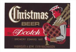 Etiquette De  Bière Scotch   -   Christmas  -   Evin Malmaison  (62)  -  Thème Cornemuse Biniou - Beer