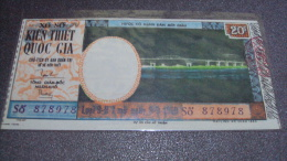 South Vietnam Lottery (20$)  Issued In 1969 - My Thuan Bridge Project - Vietnam