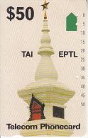 LAOS(tamura) - Temple, TAI EPTL/Telecom Australia First Issue $50(used By The Australian Military In Laos), Used - Laos