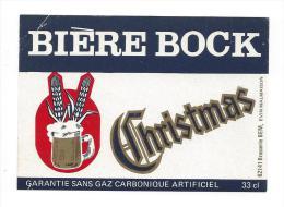 Etiquette De  Bière Bock   -  Christmas   -   Brasserie BEM  à  Evin Malmaison   (62) - Bière