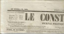 """JOURNAL QUOTIDIEN """"LE CONSTITUTIONNEL"""" DU 30/10/1863 N°303 SUR 4 Pages - 1850 - 1899"""