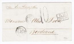 Uruguay Vorphila Briefhülle Montevideo 2.8.1868 Nach Bordeaux F. Mit Zug Und Ak. Stempel - Uruguay