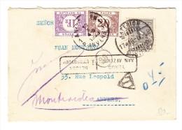 Uruguay Brief Montevideo 1948 Nach Anvers Und Retour 1 + 0.20 Fr. Belgische Portomarken - Uruguay