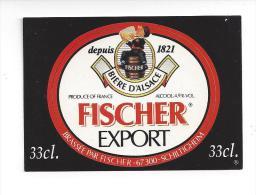 Etiquette De  Bière Export  -  Brasserie Fischer   à  Schiltigheim   (67) - Cerveza
